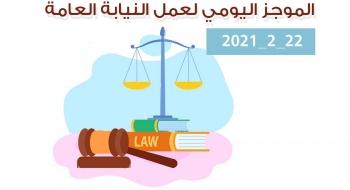 الموجز اليومي لإجراءات النيابة العامة لتحقيق الأمن والاستقرار المجتمعي22/2/2021