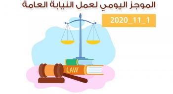 الموجز اليومي لإجراءات النيابة العامة لتحقيق الأمن والاستقرار المجتمعي1/11/20202