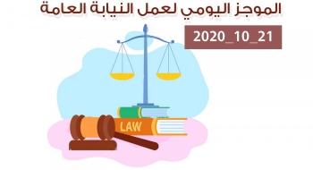 الموجز اليومي لإجراءات النيابة العامة لتحقيق الأمن والاستقرار المجتمعي 21/10/2020