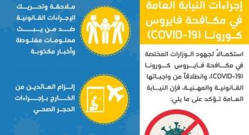 إجراءات النيابة العامة في مكافحة فايروس كورونا COVID-19