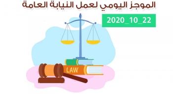 الموجز اليومي لإجراءات النيابة العامة لتحقيق الأمن والاستقرار المجتمعي 22/10/2020
