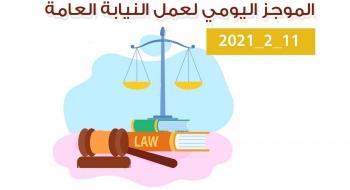 الموجز اليومي لإجراءات النيابة العامة لتحقيق الأمن والاستقرار المجتمعي11/2/20211