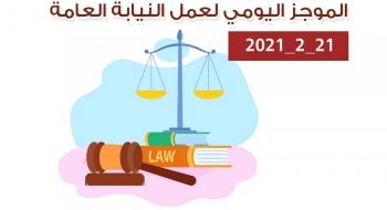 الموجز اليومي لإجراءات النيابة العامة لتحقيق الأمن والاستقرار المجتمعي21/2/2021